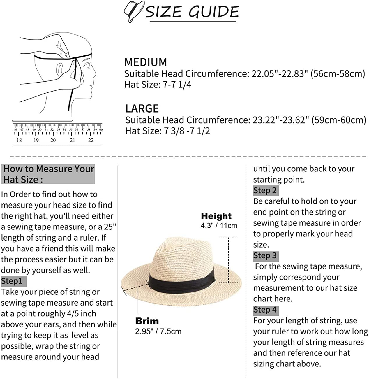 Cappello di Paglia Unisex Cappello da Sole Impacchettabile per Vacanze Estive Maylisacc Cappello Panama per Donna Uomo
