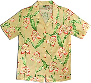 product image for Paradise Found Women's Orchid Corsage Palm Aloha Shirt, Yellow, S