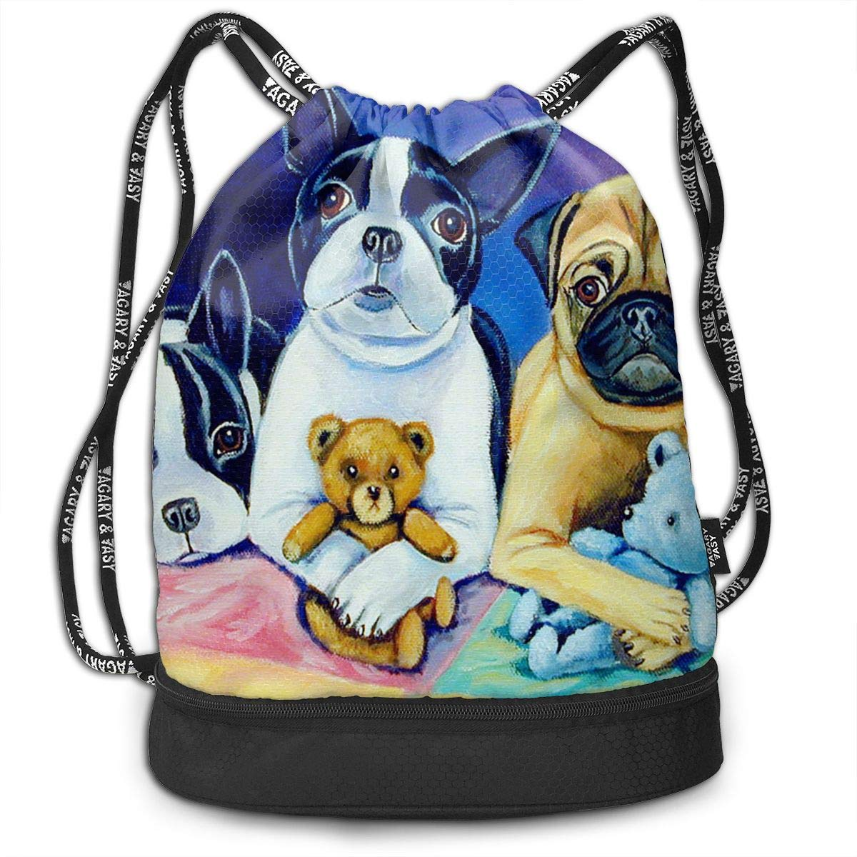 Gym Travel Beach Sporting Verna Eipstein Boston Terrier and Pug Puppies Waterproof Lightweight Sports Backpack for Swimming Hiking Shopping Camping