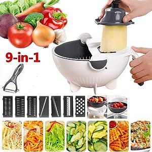 Alrens Vegetable Slicer, 9 in 1 Multifunction Vegetable Cutter with Drain Basket Kitchen Vegetable Chopper Portable Kitchen Tool