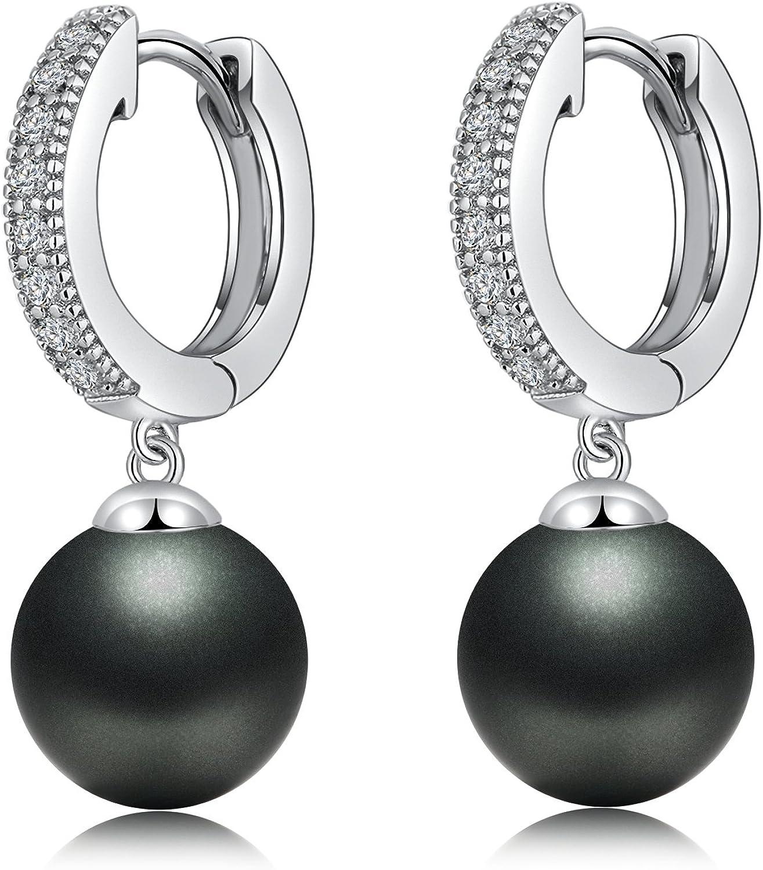 jiamiaoi 925 pendientes de plata para mujer, pendientes de aro, pendientes de perlas para mujer, pendientes de perlas de 10 mm, oro rosa/oro/color plata, caja de regalo