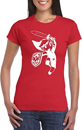 Red Female Gildan Short Sleeve T-Shirt - Young Link design