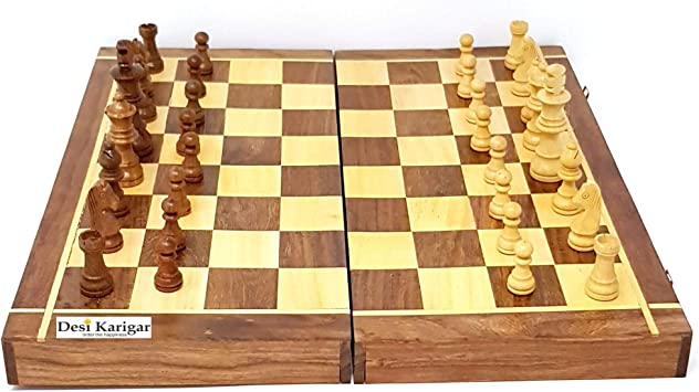 Desi Karigar Folding Wooden Chess Board Set Game Handmade 14 Inches (Non - Magnetic)