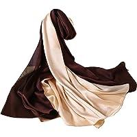 W.Best Femme Foulard 100% Soie Grande Echarpe Châle Ultra-Léger Respirant Elégant 90*180CM