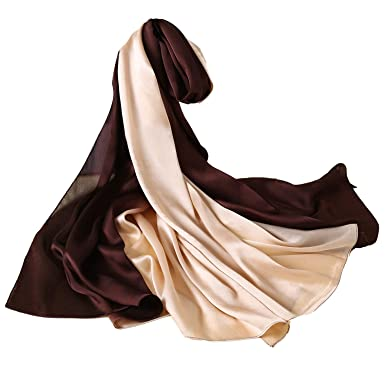 f03f73de362 W.Best Femme Foulard 100% Soie Grande Echarpe Châle Ultra-Léger Respirant  Elégant