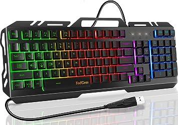 Teclado para juegos, teclado TedGem, teclado con cable, teclado USB, teclado para juegos, panel de metal, teclado resistente a derrames con ...
