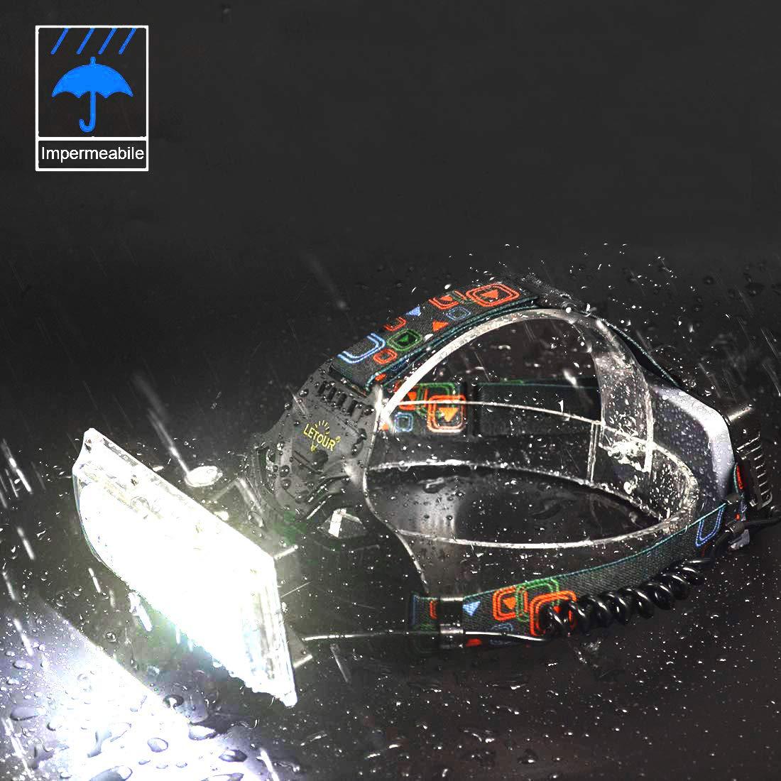 Jogging Lampada Frontale LETOUR Lampada de Testa COB 2500 Lumen Fari a LED Super Luminosi e Ricaricabili Lampada da Lavoro Impermeabile per Campeggio Passeggiate Pesca