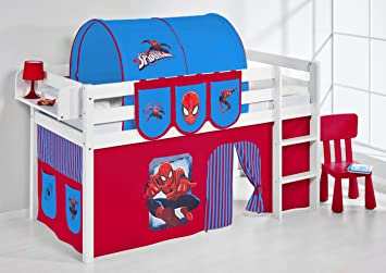 Jelle Spiderman Lilo Kids Bed White Wooden Bunk Bed With Fun Playful