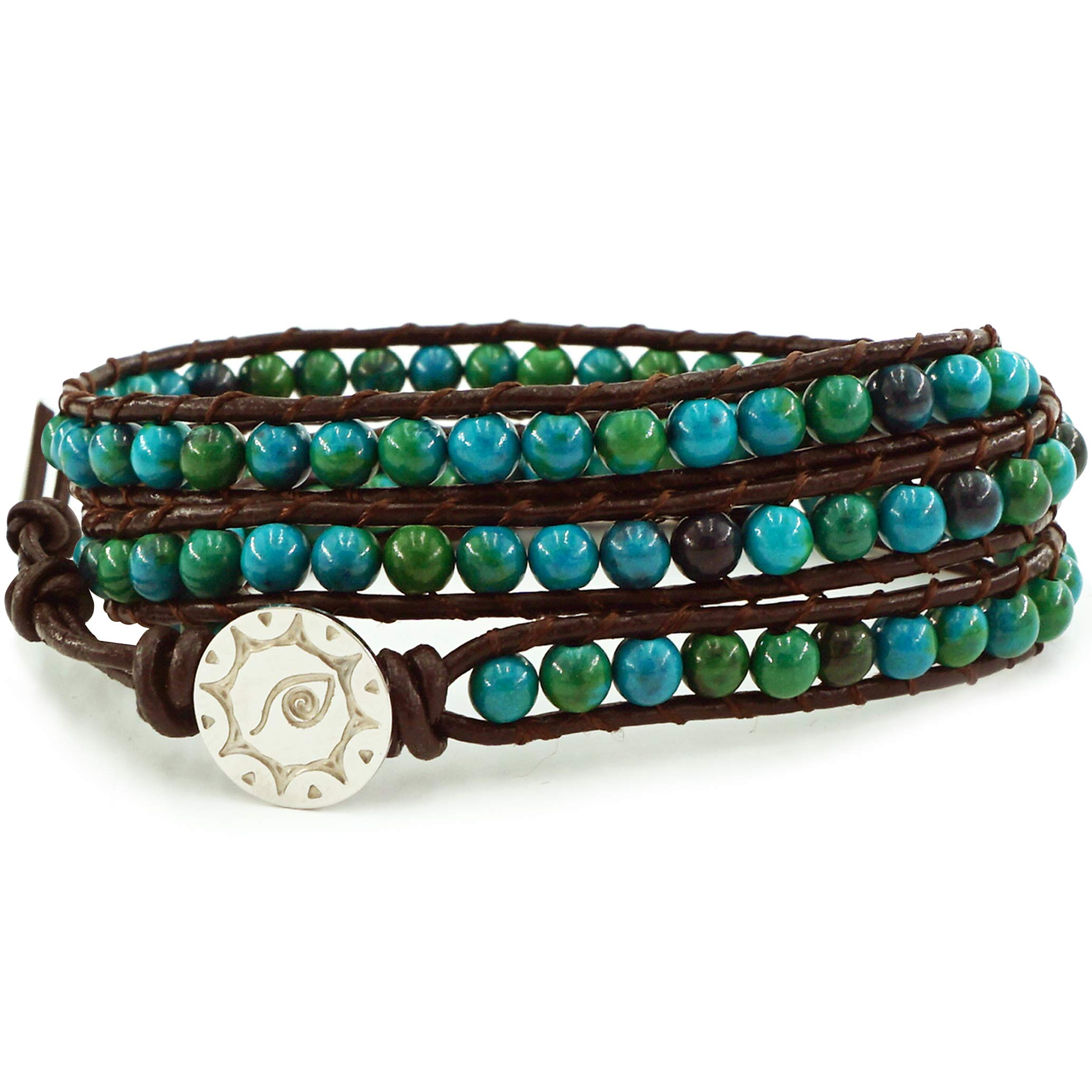BLUEYES COLLECTION ''Amicable Blue Mix Green ChrysocollaGemstone Beads Genuine Leather Bracelet, 3 Wraps by BLUEYES COLLECTION