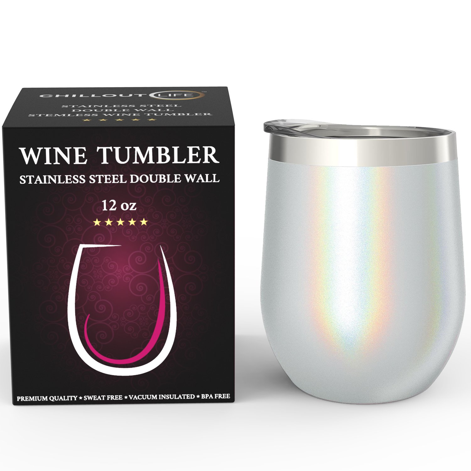CHILLOUT LIFE Stainless Steel Stemless Wine Glass Tumbler with Lid, 12 oz | Double Wall Vacuum Insulated Travel Tumbler Cup for Coffee, Wine, Cocktails, Ice Cream - Sparkle Holographic Wine Tumbler by CHILLOUT LIFE (Image #7)