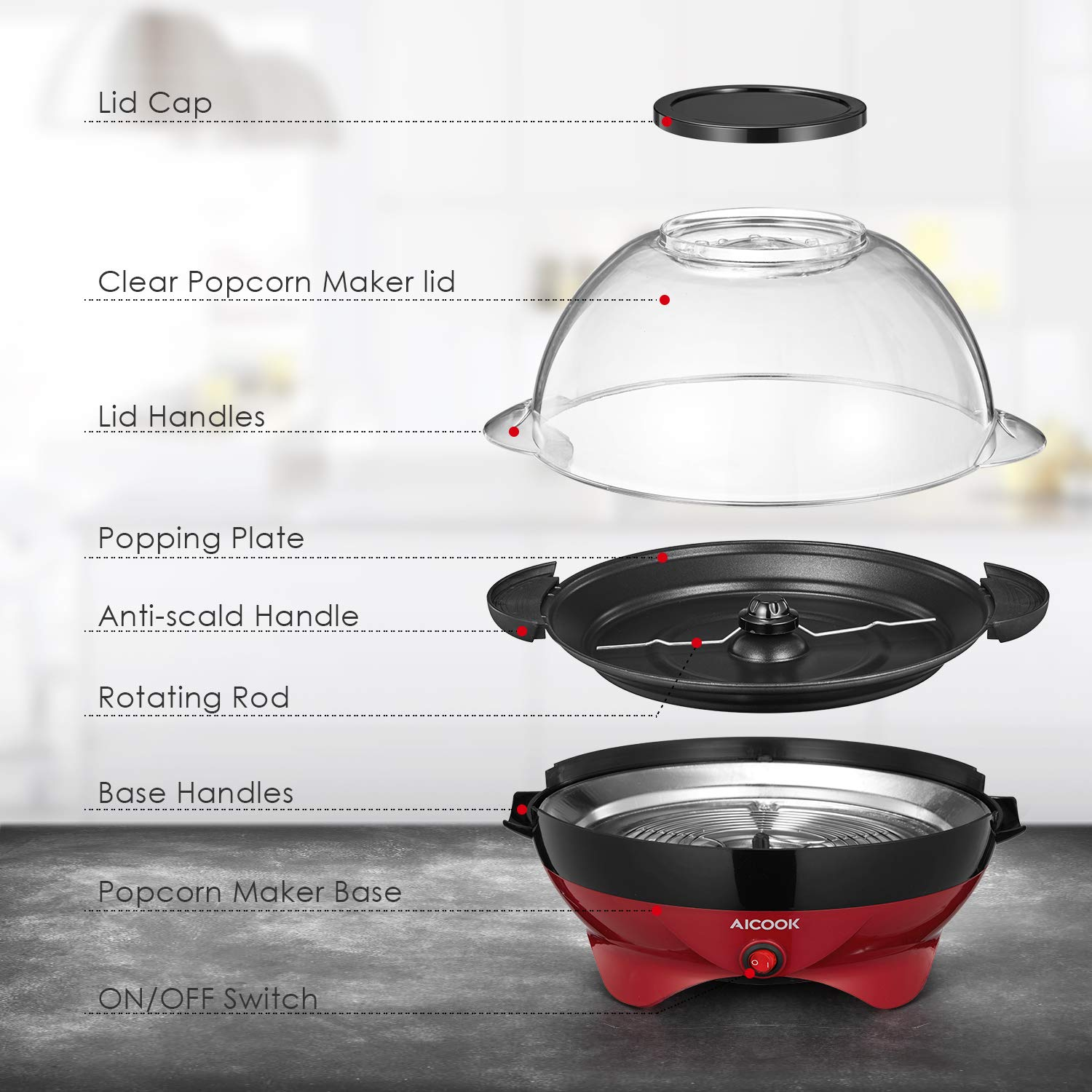 Popcorn Maker, AICOOK Electric Hot Oil Popcorn Popper Machine with Stirring Rod Offers Large Lid for Serving Bowl and Convenient Storage, 6-Quart, Red by AICOOK (Image #9)