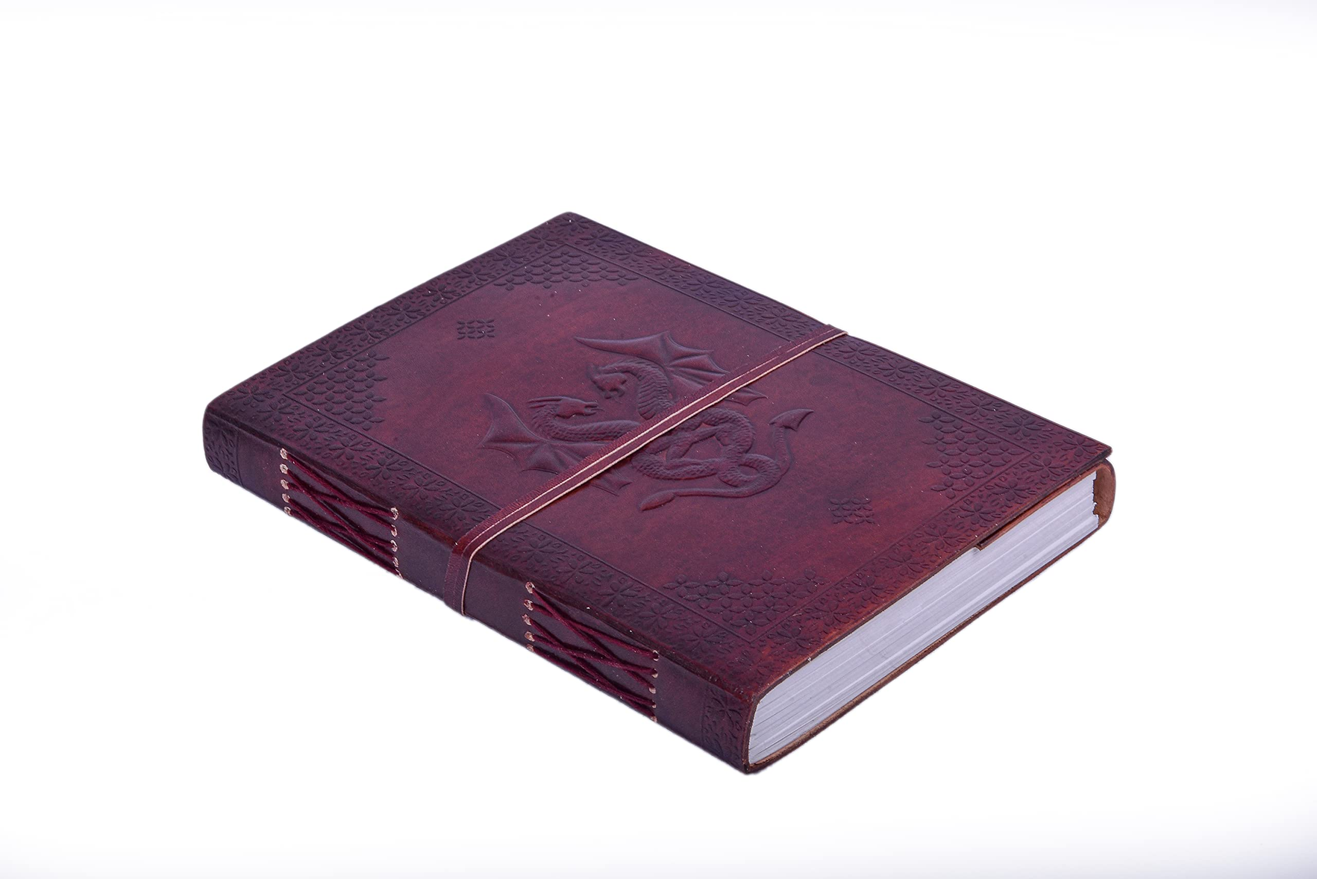 Antique Leather Journal, Leather Bound Writing pad, Dragon Embossed Blank Unlined Paper Notebook for Travel, Office, Thoughts, Sketching with Wraparound Tie, Gift for Men and Women, Brown 10X7 Inches