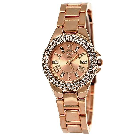 Kleine elegante mujer NY London brillantes de reloj analógico de cuarzo de pulsera de reloj en
