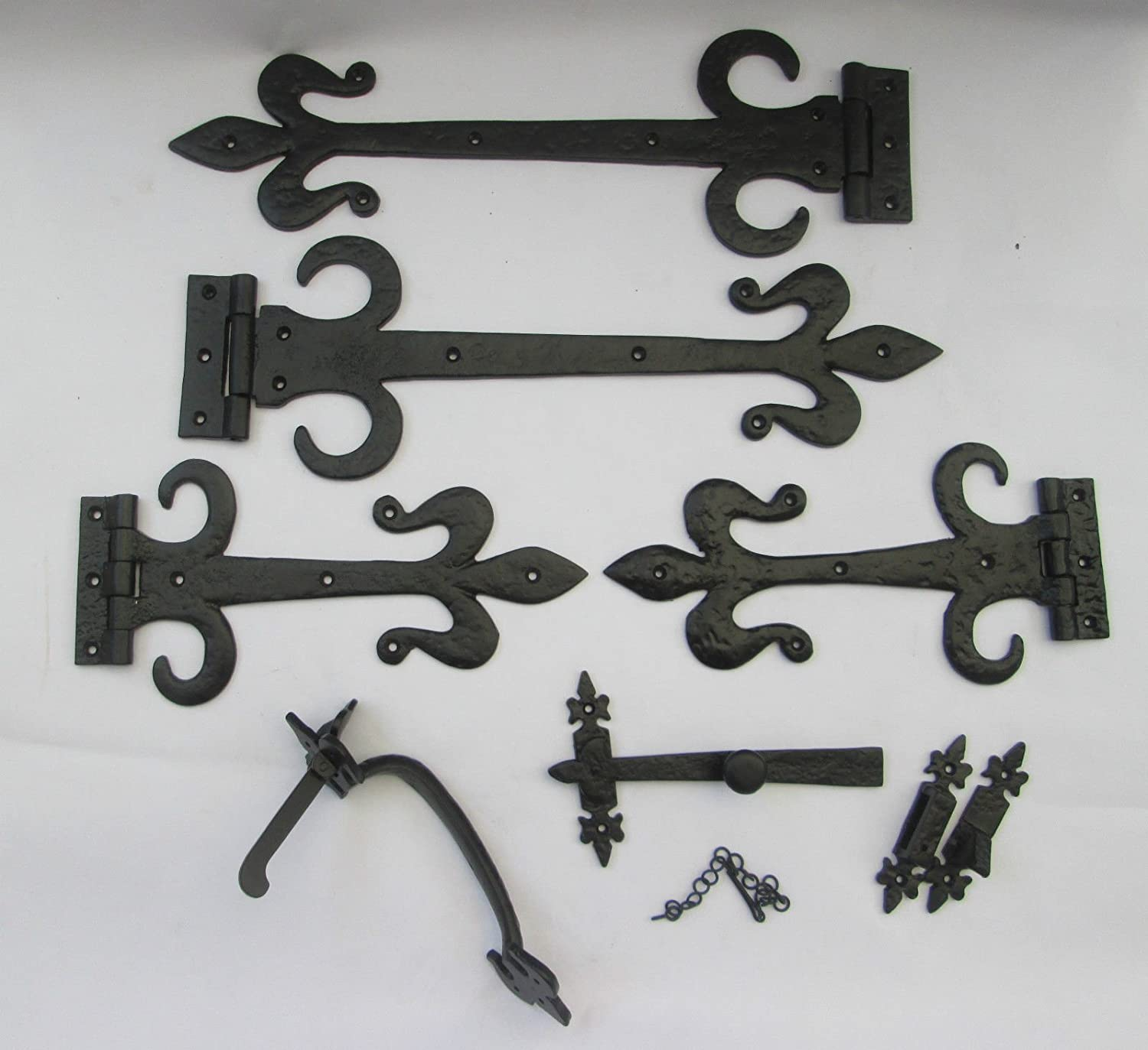 CAST IRON SUFFOLK COTTAGE LATCH DECORATIVE ORNATE DOOR TEE HINGES T HINGE SET
