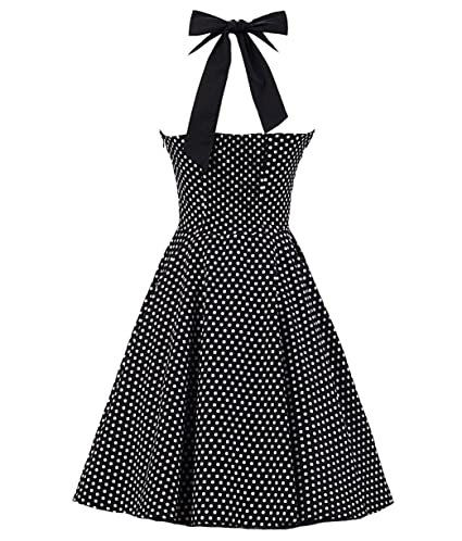 582983b92b2d Amazon.com: Tecrio Women Retro 50s 60s Rockabilly Halter Polka Dots Floral  Party Swing Dress: Clothing