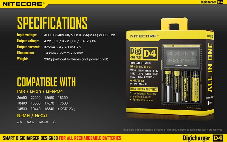 Nitecore D4 4 Slot Smart Battery Charger For Li Ion Imr 12v Nicad 200ma H Lifepo4 26650 18650 18350 16340 Rcr123 14500 Ni Mh Cd Aa Aaa Aaaa C Batteries W 8