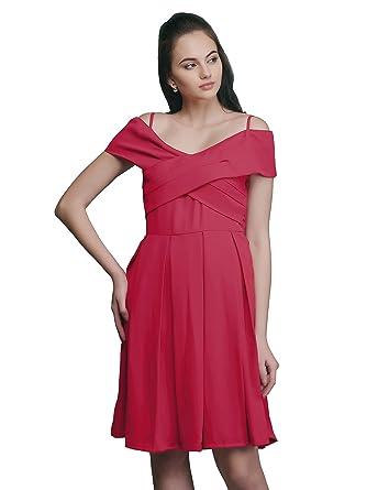 Eavan Women s Red Skater Dress - EA3349  Amazon.in  Clothing ... 3bd9bd8dc