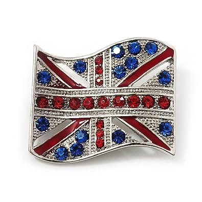 Swarovski Crystal Union Jack Flag Brooch In Silver Plating - 3.5cm Length BH176v