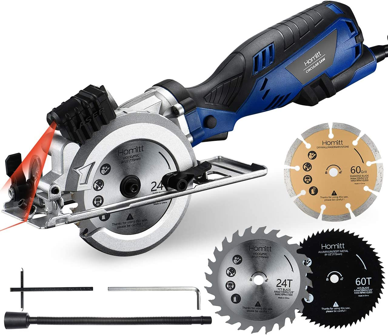 "Circular Saw, Homitt 5.8A 3500RPM Compact Saw with Laser Guide, 3 Saw Blades(4-1/2""), Max Cutting Depth 1-11/16""(90°), 1-1/8""(45°), Ideal for Soft Metal, PVC, Wood, Tile and Plastic Cuts"