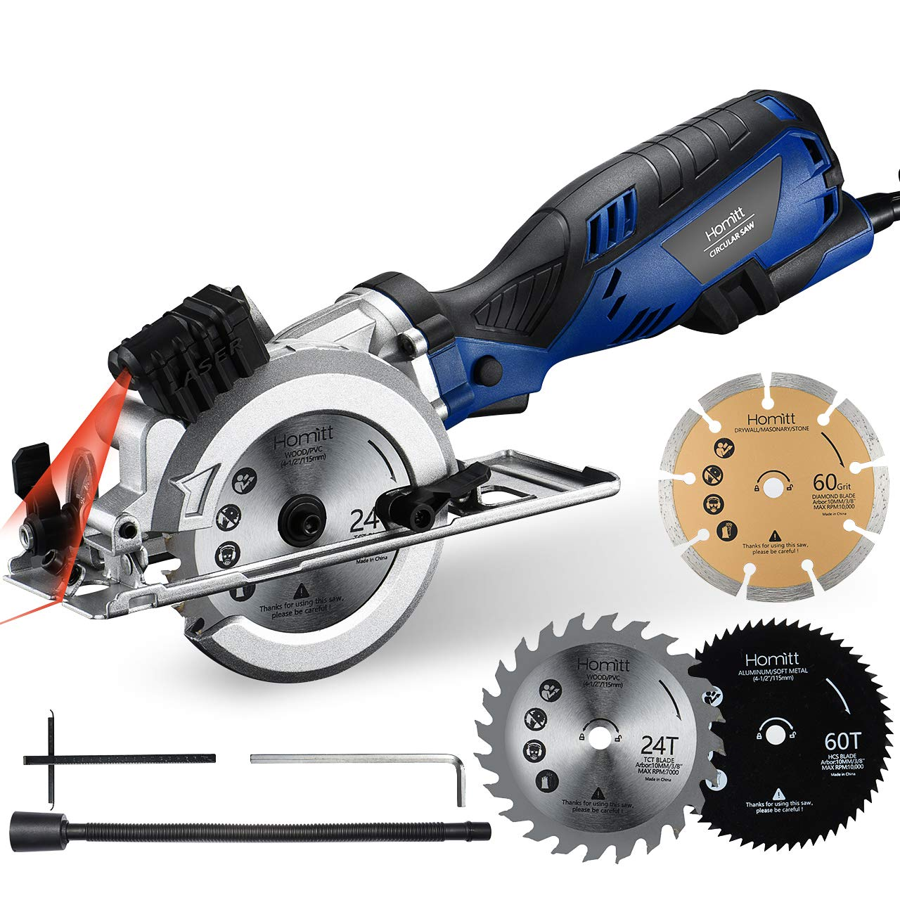 Circular Saw, Homitt 5.8A 3500RPM Compact Saw with Laser Guide, 3 Saw Blades 4-1 2 , Max Cutting Depth 1-11 16 90 , 1-1 8 45 , Ideal for Soft Metal, PVC, Wood, Tile and Plastic Cuts