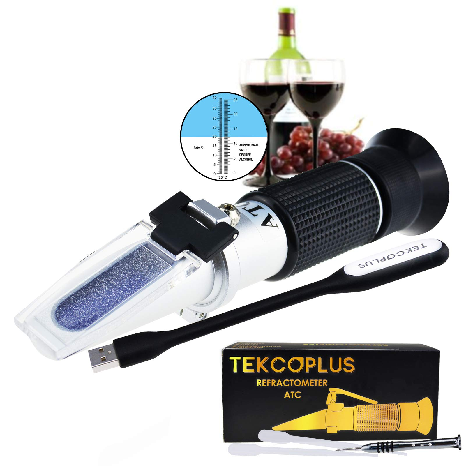 Optics Grape Wine Refractometer with ATC, Dual Scale 0-25% vol and Alcohol & 0-40% Brix, for Wine Making, Homebrew Kit, Winemakers, with LED light and pipettes