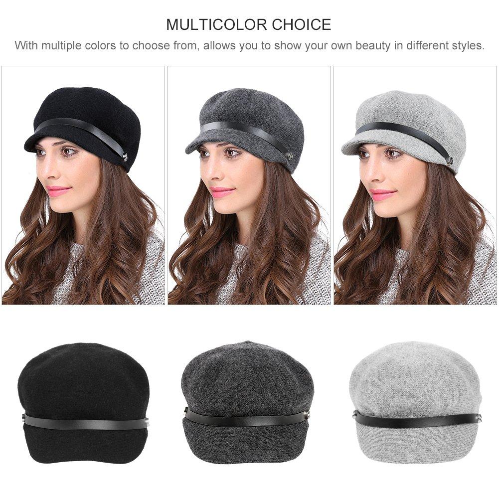 Vbiger Women Woolen Fedora Newboys Hat Visor Beret (Dark Grey) by VBIGER (Image #6)