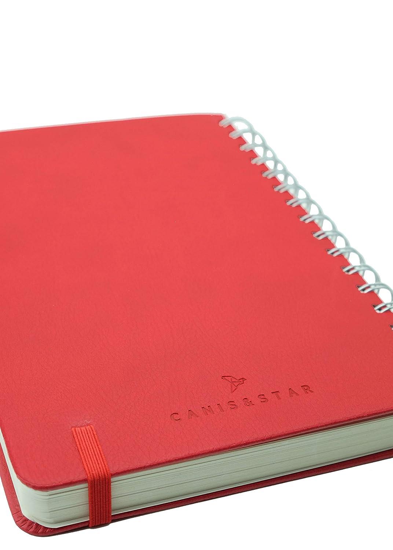 tama/ño A5 Canis /& Star color blanco A5 de piel sint/ética de 120 g//m/² con rayas finas cuaderno con tapa dura en espiral