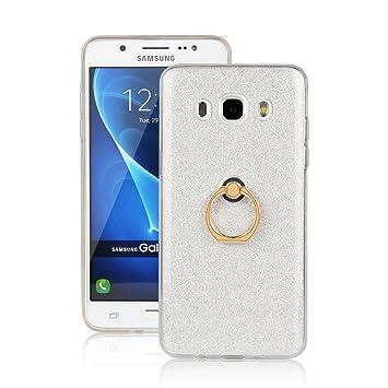 Funluna Galaxy J5 2016 Funda Dedo, Carcasa de Glitter Bling Silicona con 360 Grados Rotating Soporte Anti-Gota Anillo Bumper Case para Samsung Galaxy ...