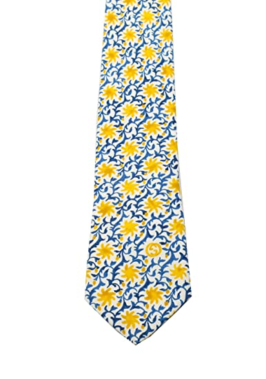 Gucci CL Blue Patterned Flower Tie: Amazon.es: Ropa y accesorios