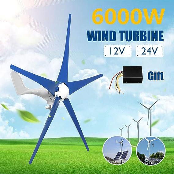 TQ 6000W del Viento generador de turbinas, 12V / 24V 5 láminas horizontales generador de Viento del Molino de Viento con el regulador de energía Turbinas de Carga,24v: Amazon.es: Deportes y aire