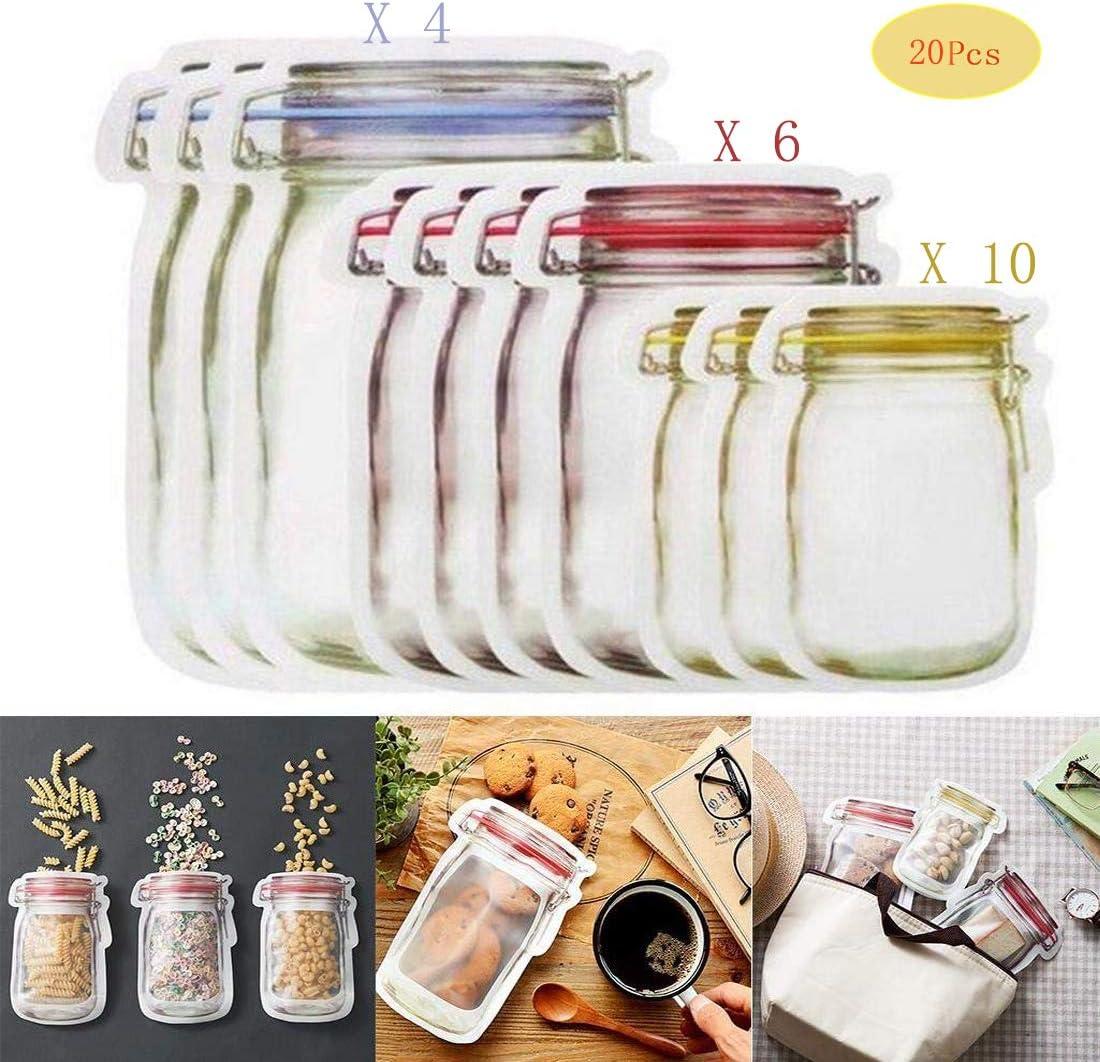 10x Mason Jar Zipper Bags Food Storage Snack Sandwich Ziplock Reusable Seal Set