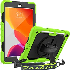 SEYMAC iPad 10.2 Case 2020/2019, iPad 8th/7th Generation Case, Full Body Protective Case with Screen Protector Pencil Holder 360°Stand Hand Strap/Shoulder Strap for 10.2'' iPad 7th/8th (Green/Black)