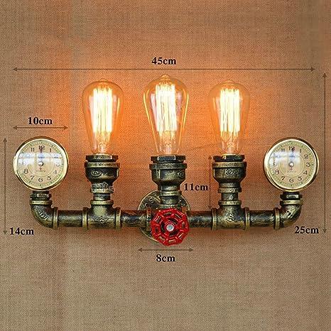 L&Y LOFT Retro Lámpara de pared Bronce Relojes de pared Hierros 3 Cabezas Tubería de agua