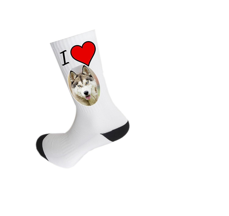Mens Black Novelty Husky Socks I Love My Dog Socks