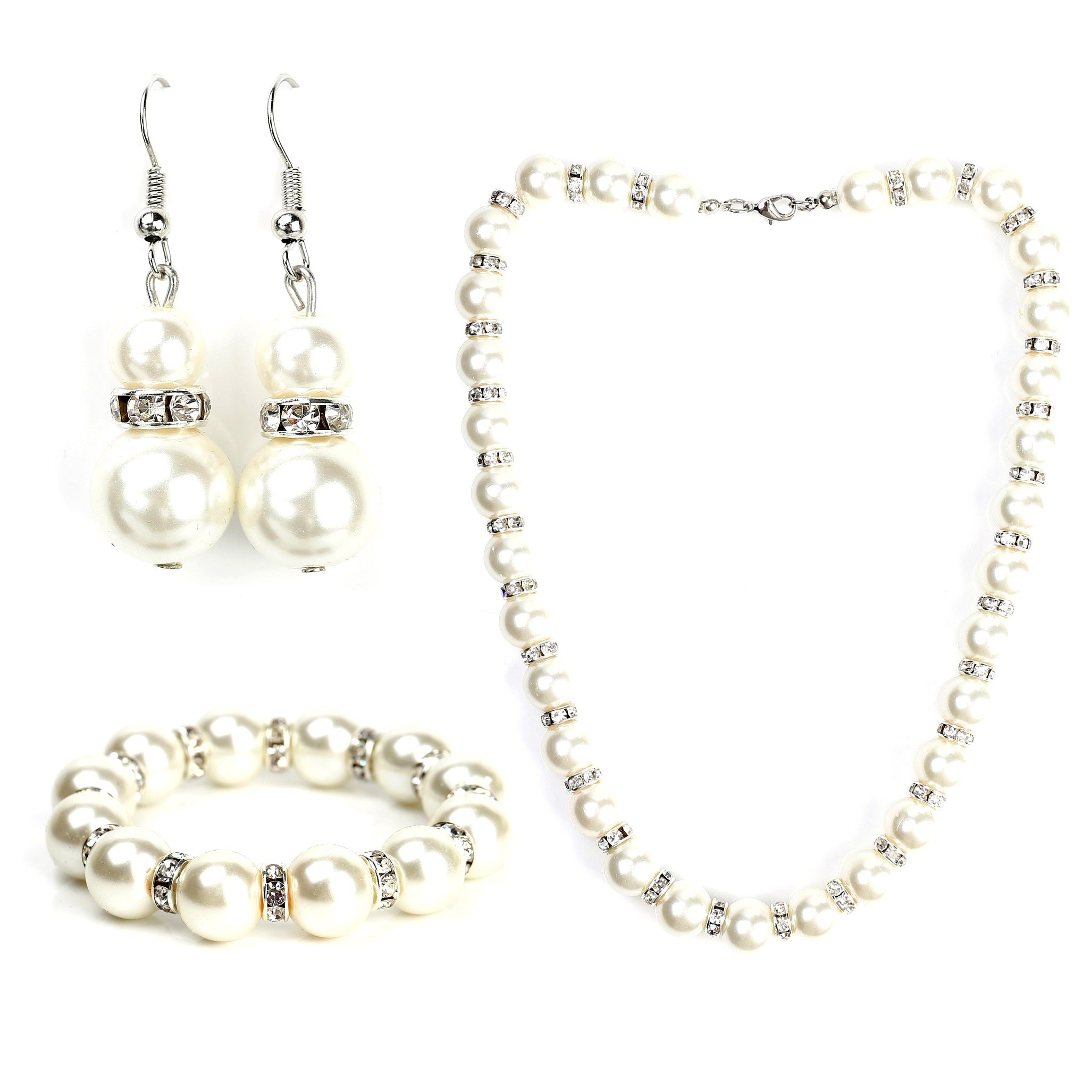 United Elegance Classic Faux Pearl Set - Necklace, Drop Earrings and Coordinating Bracelet with Swarovski Style Crystals