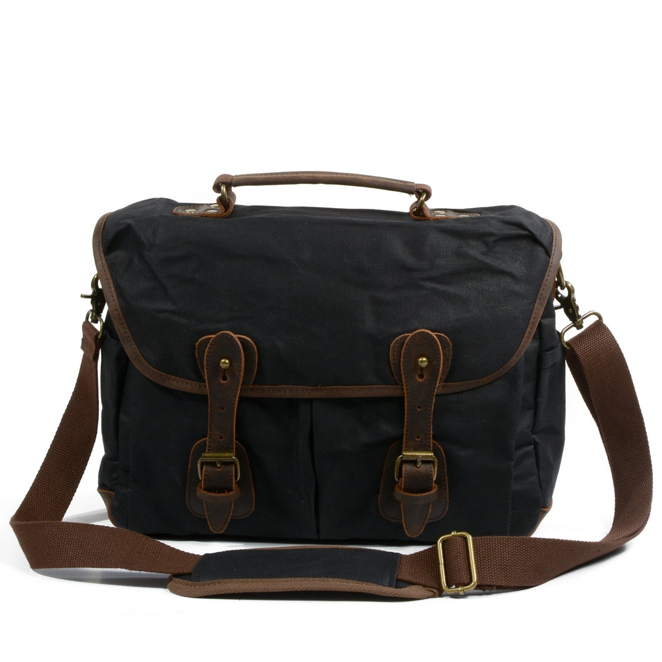 Peacechaos Men's Canvas Leather DSLR SLR Vintage Camera Messenger Bag (Black-2)