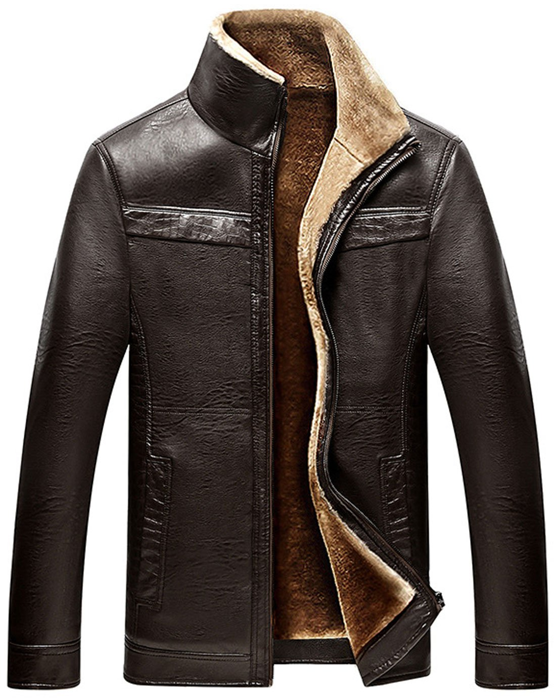 Chouyatou Men's Winter Full Zipper Thick Sherpa Lined Faux Leather Jacket (Coffee, X-Large)
