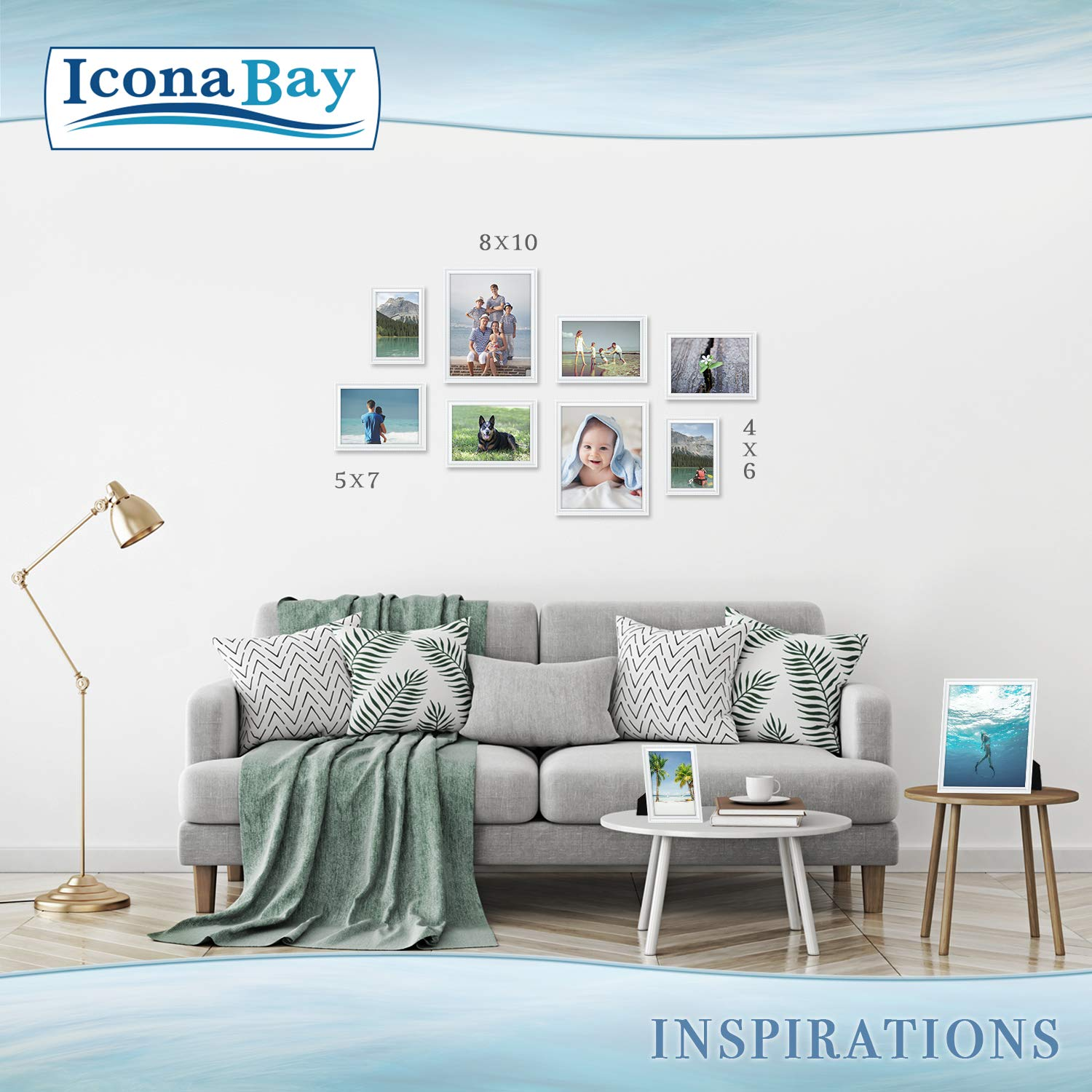 Icona Bay 8x10 Picture Frames (6 Pack, White) Picture Frame Set, Wall Mount or Table Top, Set of 6 Inspirations Collection by Icona Bay (Image #8)