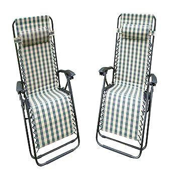 Silla de jardín - Juego de 2 sillas de verificación verde acolchado Tumbona reclinable - Textoline resistente a la intemperie