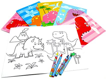 Amazon.com: Dinosaurs Coloring Books with Crayons Party Favors Set ...