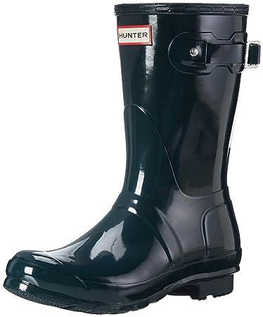 842c66bec4b9 Hunter Womens Original Short Gloss Wellingtons Snow Winter Rain Boots -  Ocean - 5