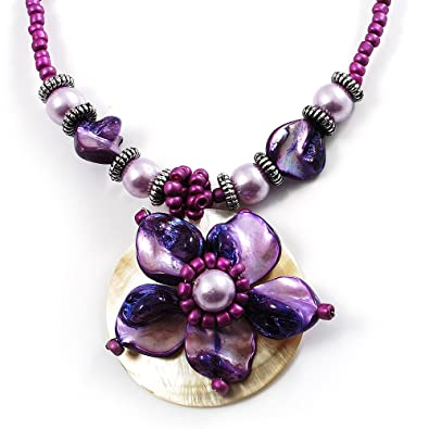 Avalaya Purple & Magenta Glass, Shell & Mother of Pearl Floral Choker Necklace (Silver Tone)