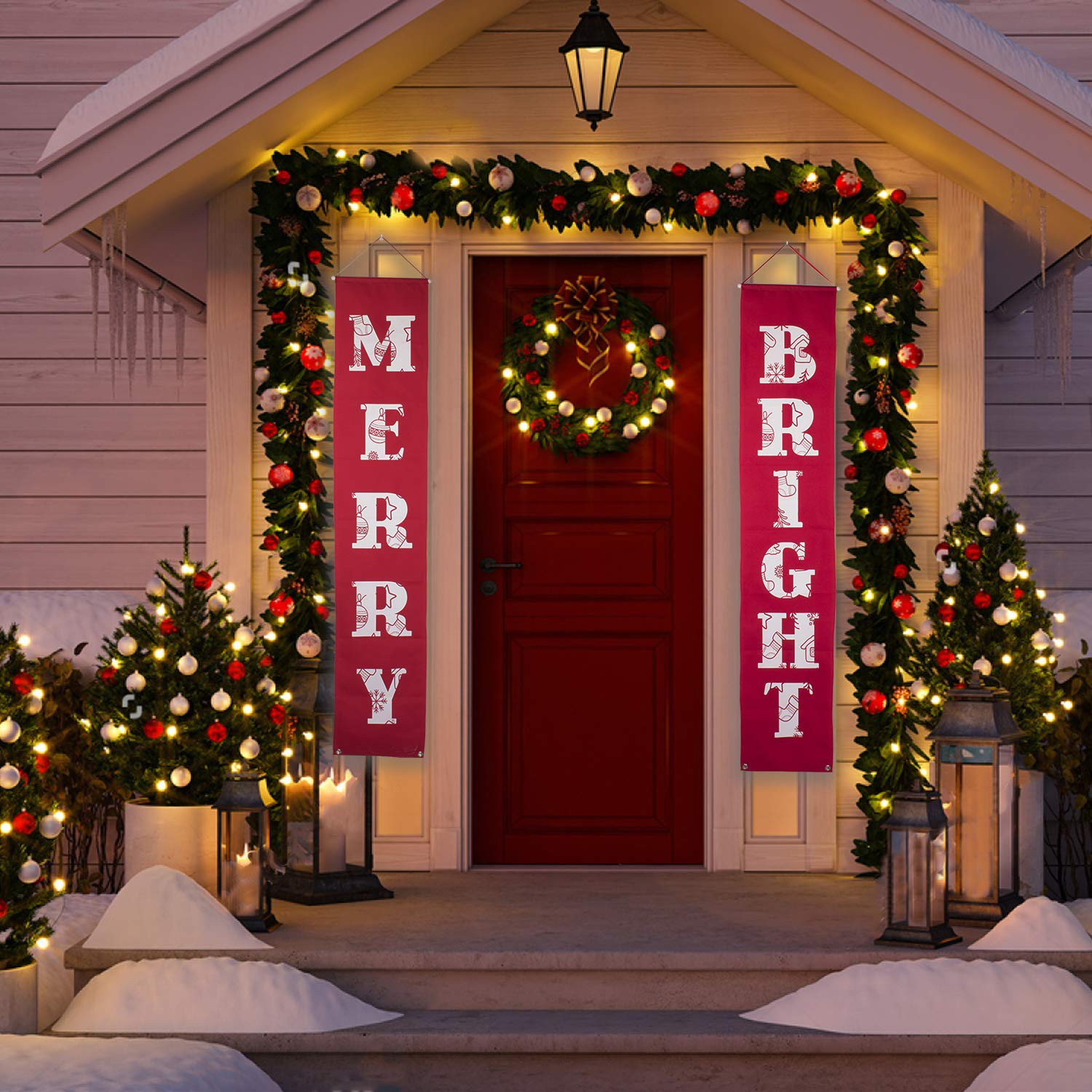 Merry Bright Christmas Banner For Christmas Decorations Outdoor Indoor Merry Bright Porch Sign Red