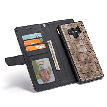 Amazon Com Black Friday Deals Cyber Monday Deals Galaxy Note 9 Wallet Case Magnetic Detachable Slim Case Crocodile Luxury Removable Leather Wallet Case Kickstand Cover Case For Samsung Galaxy Note 9 Brown Beauty