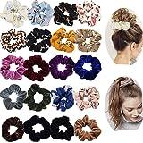 20 Pack Hair Scrunchies Ponytail Holder Elastic Hair Bands Hair Ties for Women Girls Teens Hair Accessories (10pcs Solid…