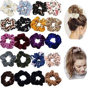 20 Pieces Hair Scrunchies Elastic Hair Ponytail Holder Fashion Hair Ties
