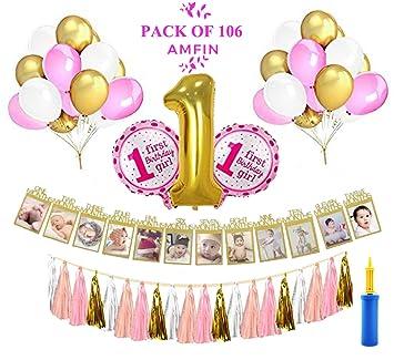 Amfin First Birthday Decorations Girl 1st Birthday Decoration For