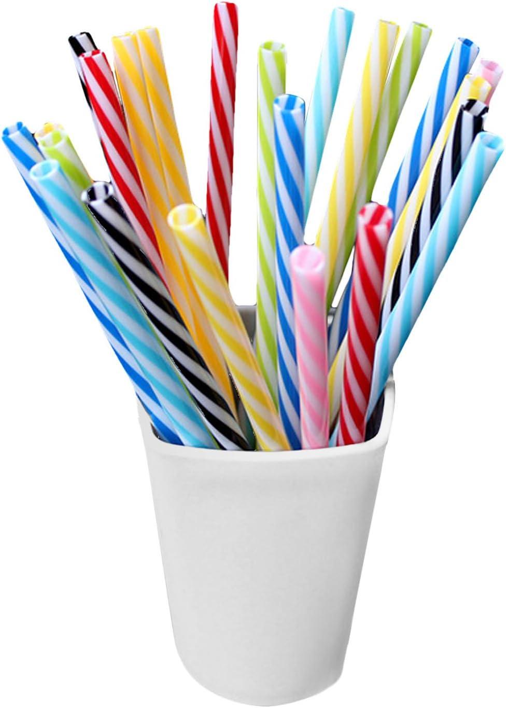 Gosear 25 Piezas Pajitas de Fiesta, Surtido Colores Reutilizables Respetuosos del Medio Ambiente de plástico a Rayas de Paja Potable para la Boda de Navidad Fiesta de cumpleaños de la Familia reunión