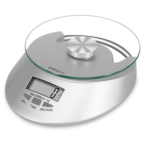 Helect Báscula Digital de Cocina, 5 kg / 11 lbs, Superficie de Vidrio Templado