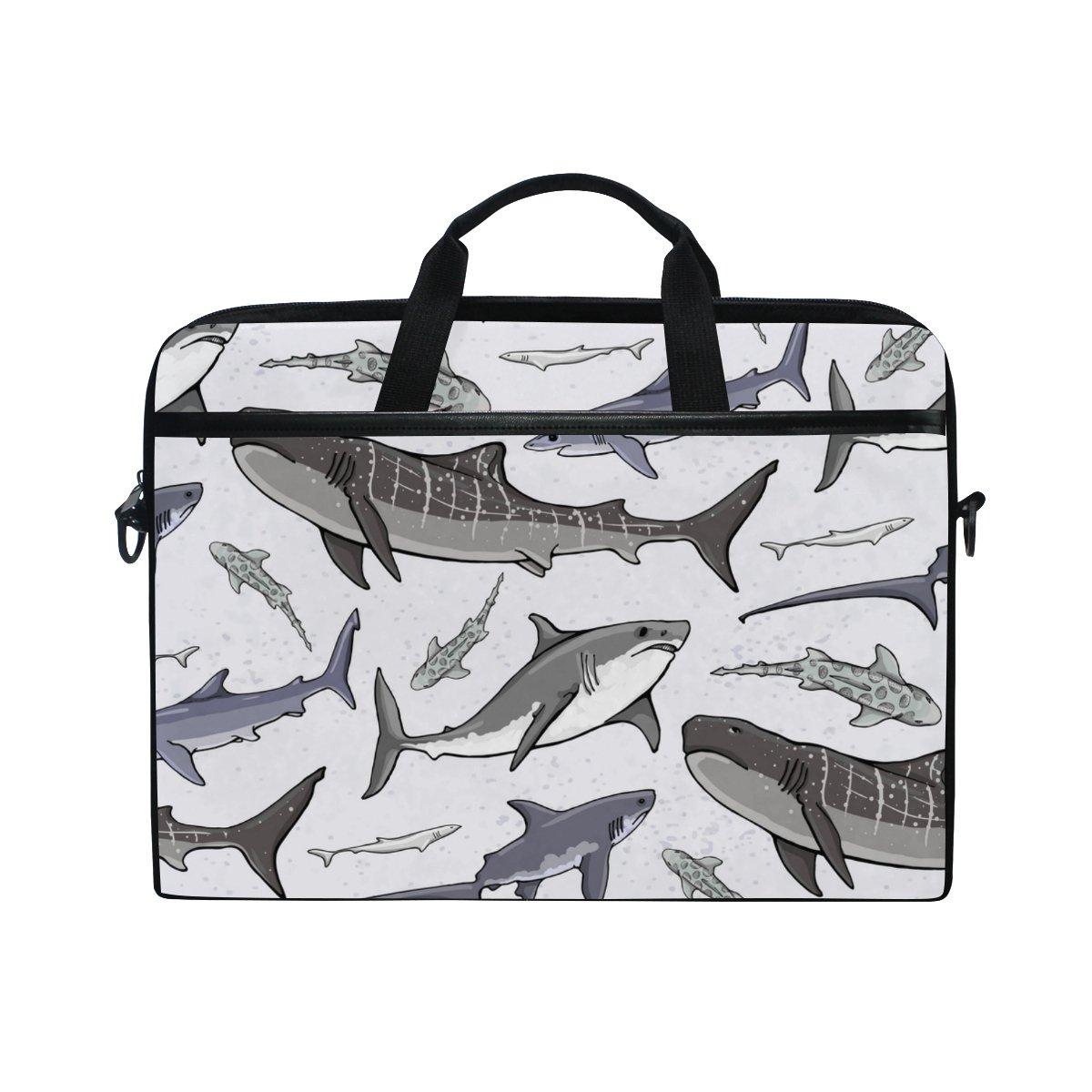 delicate ALAZA Hand Drawn Sharks Laptop Bag Shoulder Bag Briefcase Messenger Tablet Bag 15 15.6 Inch for Women Men